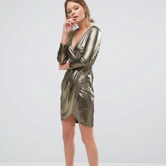 3acb8a76d56 ASOS Dresses   Skirts - ASOS New Look Gold Wrap Dress
